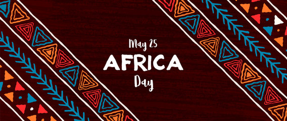 Africa Day banner of traditional african art