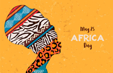 Happy Africa Day card of animal print woman