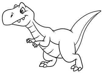 dinosaur predator animal character cartoon illustration isolated image coloring page