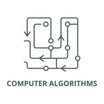 Computer algorithms line icon, vector. Computer algorithms outline sign, concept symbol, illustration