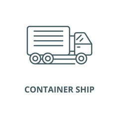 Container ship line icon, vector. Container ship outline sign, concept symbol, illustration