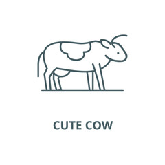 Cute cow line icon, vector. Cute cow outline sign, concept symbol, illustration