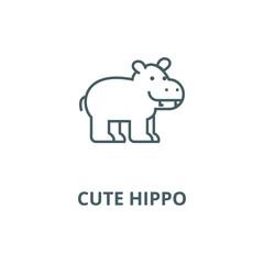 Cute hippo line icon, vector. Cute hippo outline sign, concept symbol, illustration