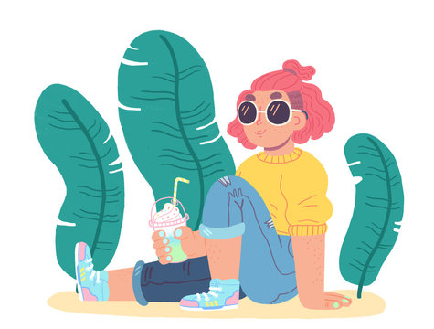 Young woman drinking smoothie
