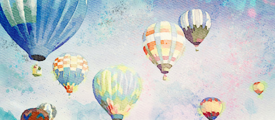 Hot Air Balloons. Watercolor background