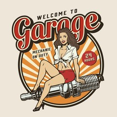 Garage service colorful print