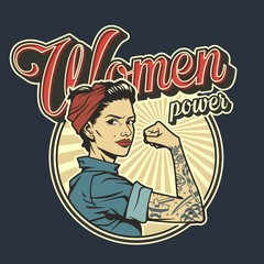 Vintage colorful woman power badge