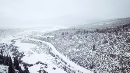 Wall Mural - Aerial view of mountains in the Winter.