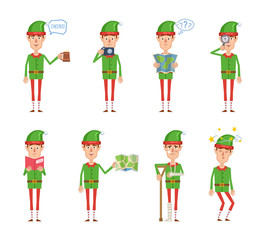 Set of Christmas elf characters posing in different situations. Cheerful elf holding mug of beer, photo camera, map, magnifier, reading a book, injured, dizzy, thinking. Flat vector illustration
