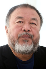 """Chinese artist Ai Weiwei is pictured during a news conference for his exhibition """"Restablecer Memorias"""" displayed at MUAC in Mexico City"""