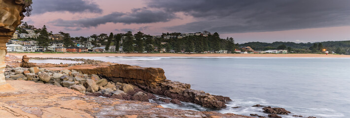 Touch of Pink - Reverse Sunrise Seascape Panorama