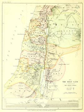 Holy land map. The twelve tribes