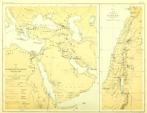 Holy land map. The gentile nations