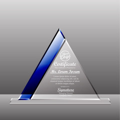 Crystal trophy certificate design template. Vector Illustration