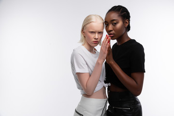 Models with different skin color posing for equality promotion