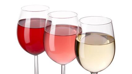 Kieliszki białego, różowego i czerwonego wina na białym tle