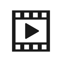 Video icon, film strip icon. Video Play icon on display