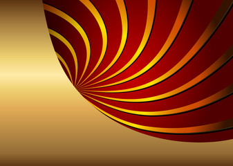 Abstract background gold red with 3d spiral