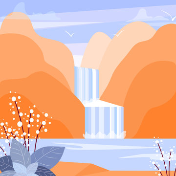 Cute flat landscape illustration with mountain, waterfall and lake. Water stream simple vector.
