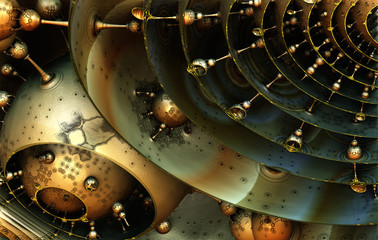 Abstract background, fantastic 3D structures, fictional sci fi background.