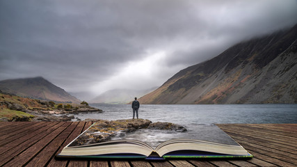 Poster Gray Stunning long exposure landscape image of Wast Water in UK Lake District coming out of pages in story book