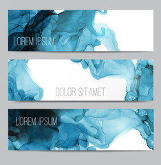 Three blue banners with abstract alcohole ink painting on white background with place for your text.