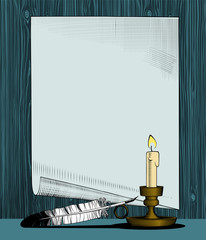 Paper sheet with a candle and feather pen. Vintage stylized drawing. Vector illustration