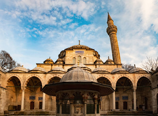 The New Mosque Yeni Valide Camii, an Ottoman Imperial Mosque interior architecture in Istanbul, Turkey, Eminonu district