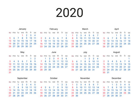 2020 year US calendar. Classical, minimalistic, simple design. White background. Vector Illustration. Week starts from sunday.
