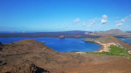 morning view of pinnacle rock on isla bartolome in the galapagos