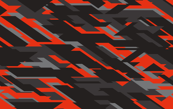 Seamless fashion dark gray and red hunting camo pattern vector