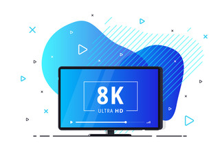 Modern abstract screen tv with 8k Ultra HD video technology. LED television display on geometric liquid background with high definition digital tech symbol. Vector Illustration.