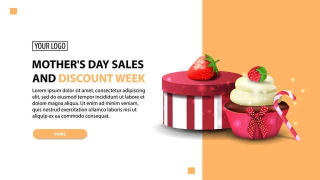Mother's day sales and discount week, modern horizontal discount banner in bright colors with gift, strawberry and cupcake