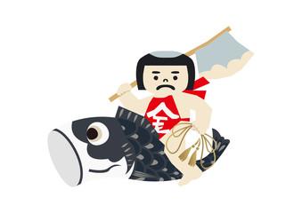 端午の節句のイメージ。 日本の季節のイラスト。 五月人形。こどもの日のイラスト素材。 金太郎。坂田金時の人形。