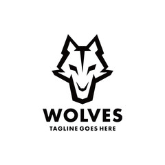 Wolf Logo Design Inspiration. Flat And Modern Icon. Mascot Animal Character Symbol. Fox Graphic Vector. Simple And Unique Logotype. Animal Emblem For Company And Business.