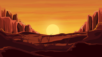 Rocks in the desert, orange sunset, mountains, sand, beautiful sky.