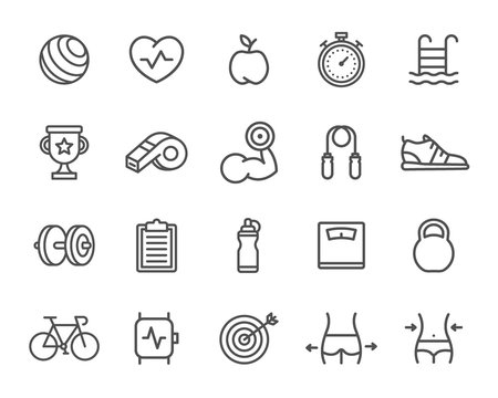 Set of Sport Line Icons. Target, Smart Watch, Bicycle, Bottle, Dumbbell and more