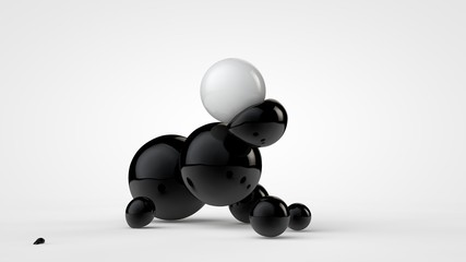 3D illustration of black deformed balls around white ball, isolated image on white background. Unusual figures, abstraction. 3D rendering
