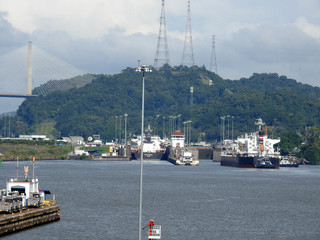 Panama City / Panama / 11. 09. 2018: The second lock of the Panama canal from the Pacific ocea