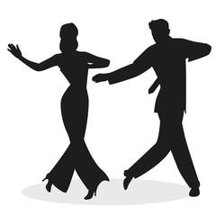 Fototapete - Silhouettes of young couple dressed in retro clothes, dancing tap, swing or Broadway style, isolated on white background