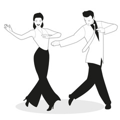 Fototapete - Young couple dressed in retro clothes, dancing tap, swing or Broadway style, isolated on white background