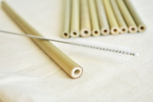 No plastic, natural bamboo straws and cleaning brush, eco friendly, zero waste lifestyle.