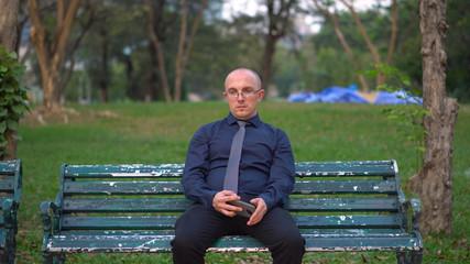 Depressed Man & Fake Happiness - Sad Man Fake Smiling For Social Media Selfie