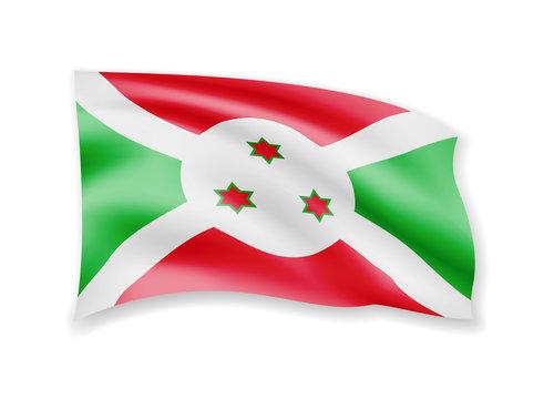 Waving Burundi flag on white. Flag in the wind.