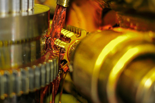Gear cutting, gear manufacturing, technical oil cools the part during processing.