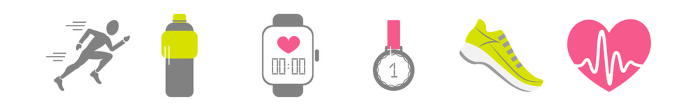 Vector set of running sport icons - jogging person, running shoe, beating heart with pusle, bottle of isotonic or water, smart watch, medal of winner, wireless earphones, sport timer, weigh scale