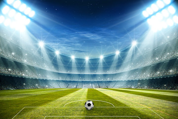 Lights at night and football stadium 3d rendering
