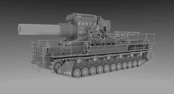 Wire Frame - Profile of Massive 60cm German Siege Mortar Karl
