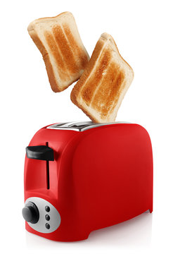 Roasted toasts popping out of a red toaster, isolated on white background