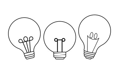 set of light bulbs isolated icon